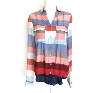 Maeve Anthropologie Colored Stripes Long Sleeve